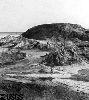 1905 photo of a group of mud volcanoes now submerged beneath the Salton Sea.